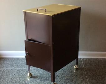 WP Johnson Mid Century Metal Rolling Locking File Cabinet