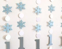 Blue and Silver Winter Birthday Decorations - Onederland Decor - 1st 2nd 3rd Frozen Themed Birthday Garland Boy/Girl - Your color choice