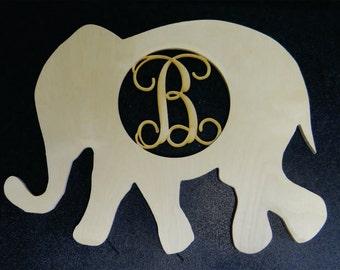 Wooden Elephant Shape with Laser Cut Letter Insert