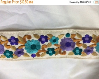 15% off 1 Yard Embroidered silk Ribbon on dupion silk in a gorgeous floral design on a creme background