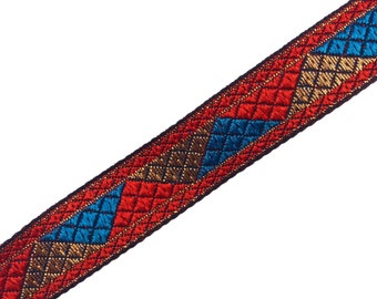 One yard Aztec pattern jacquard border  trim in red,blue and gold