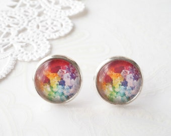 Round Glass Colourful Psychedelic Galaxy Stud Earrings