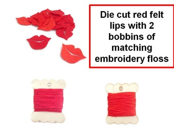 Red lips Felt shapes wooden bobbin die cut felt shapes mouth smile embroidery thread kit