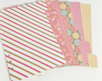 A5 Sized Laminated Dividers Orange Gold Pink Yellow Teal Patterned Dividers Filofax A5 Large Kikki-k Planner Tabbed Dividers