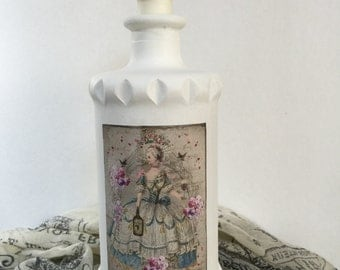 Altered Vintage Marie Antoinette Fancy Bottle, Vase,Decoration, Gift, Home Decor