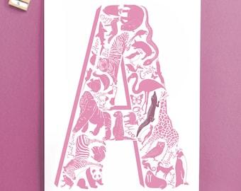 Pink Letter Christening Print