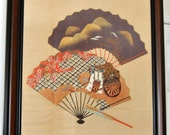 Japanese Silk Painting Ink Fukusa Asian Tapestry Wall hanging Chinoiserie Art Cherry Blossom Imperial Cart Fans Handpainted Silk Frame