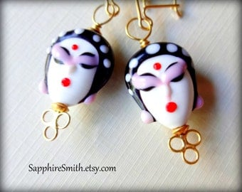 Lampwork Glass & Bali Gold Vermeil Earrings, unique, sexy, fun, funky, gifts for her