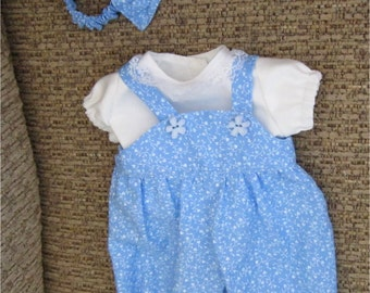 "15""  Baby Doll Clothes Blue & White Romper,  Shirt, Headband  Fits Bitty Baby, Bitty Twins or Other 15"" Baby Doll"