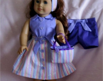 Purple & Glitter Striped Skirt Blouse Shorts Purse Headband 5 Pc Set Fits American Girl Dolls or Similar 18 Inch Dolls