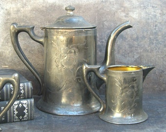 Rustic Silver Coffee Pot Set, Quadruple Plate, 1800's, Shabby Chic Cottage, Heavy Tarnish Patina, Gold Wash Creamer Sugar Bowl