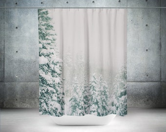 snowy forest shower curtain nature decor white bathroom forest decor scenic shower