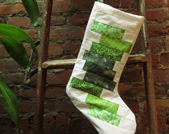SALE - Green and White Stripes Christmas Stocking - ooak