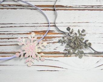Snowflake Headband, Infant Headband, Baby Headband, Glitter Snowflake Headband