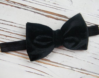 Black Velvet Bow Headband - Black Bow Headband - Baby Bow Headband