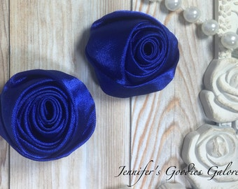 "Set of TWO Royal Blue 2"" Satin Rosette Flower Heads, Rolled Roses Wholesale Mini Rosettes for Baby Headbands"