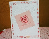 valentine card, handmade card, owl, embossed,  sweetheart,  lovers card, seasonal card, cute owl card