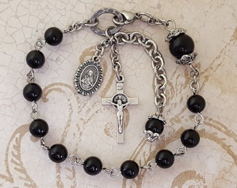 One Decade Rosary Bracelet, Scapular Medal, St. Benedict Crucifix, Black Onyx, Sacred Heart, Strong, Stainless Steel, Gemstone Rosary