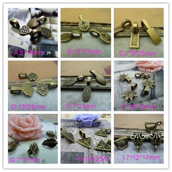 20pcs Glue On Bails  Bail Bead Spacers ,Hanging head charm body connector link claws clasps  spaced Bead Charm Pendant
