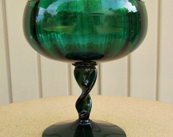 vintage 40s green glass pedestal compote dish candy dish hand blown norcrest