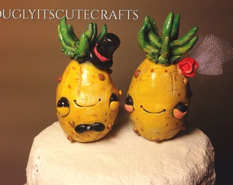 Pineapple Wedding Cake Toppers Clay Beach Figurines