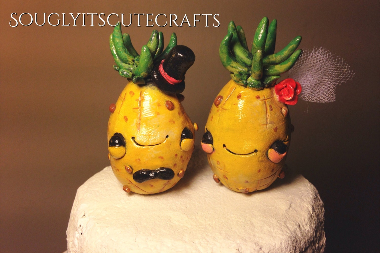 Pineapple Wedding Cake Toppers Clay beach wedding Figurines ...