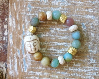 Buddha head bracelet -  stretch bracelet - boho jewelry - facetted  Amazonite  beads - vermeil tribal beads
