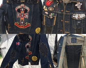 Handmade Vintage Patches Guns and Roses Levis denim Jacket size Medium