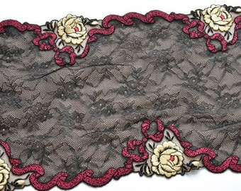 Black and Wine Red Lace Trim, Double Edged Black Lace Trim, Ivory Roses, Lingerie, Lace Fashions, Lace Decor, Dolls, Costumes