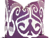 Quadrille Purple Nomad Ikat Pillow Cover 20x20 or LUMBAR pillow Accent Pillow, Throw Pillow, Toss Pillow