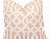 Kelly Wearstler Blush Pink Imperial Trellis Decorative Pillow Covers Square 18x18, 20x20 or 22x22, 14x20 or 12x24 Euroshams or Lumbar