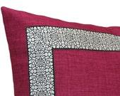 Magenta Linen pillow with Black and White Banding, Pillow Cover Square, Eurosham or Lumbar pillow, Accent Pillow, Throw Pillow, Toss Pillow,