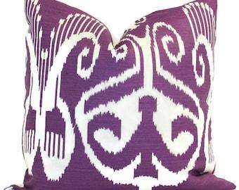 Quadrille Purple Nomad Ikat Pillow Cover LUMBAR pillow Accent Pillow, Throw Pillow, Toss Pillow