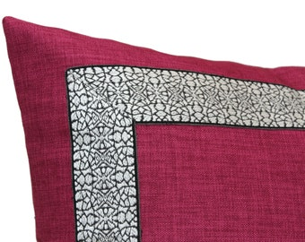 Magenta Linen pillow with Black and White Banding, Pillow Cover Square, Eurosham or Lumbar pillow, Accent Pillow, Throw Pillow, Toss Pillow,