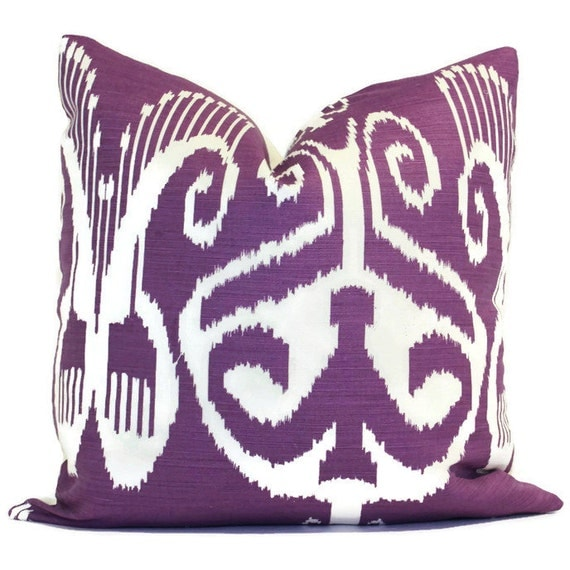 Queen Throw Pillows : Quadrille Purple Nomad Ikat Pillow Cover 20x20 or LUMBAR