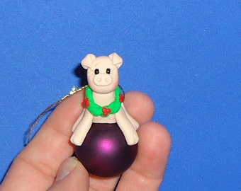 Polymer Clay Pig on Glass Ornament