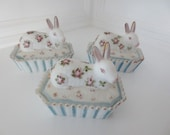 Vintage Milk Glass Bunny on Basket Trinket Box Hand Painted Floral Rabbit Candy Dish (1)