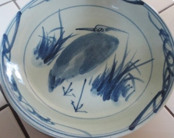 Vintage Asian Heron Bird Bowls Blue Set of 6 Earthenware Pottery Hand Painted Stoneware