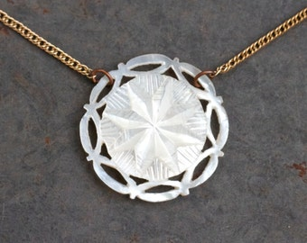 Snowflake Necklace - Mother of Pearl Medallion Pendant on Golden Chain - Antique Dainty Jewelry