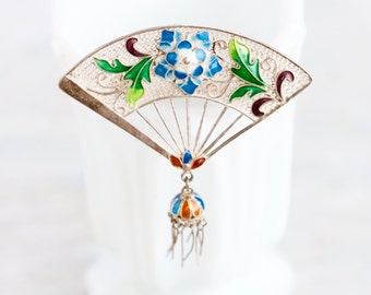 Art Nouveau Lapel Pin - Antique Sterling Silver Brooch - Filigree and Colorful Enamels