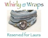 Reserved for Laura, Faded blue and gray silk ribbon with a Braveheart button