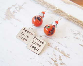 Silver Peace Love Yoga Earrings Orange Hippie Boho