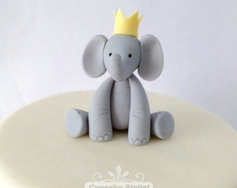 Fondant & Gumpaste Elephant with Crown Cupcake or Cake Topper, by Cupcake Stylist on Etsy