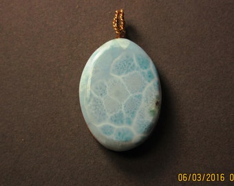 Larimar stone pendant with gold wire wrap 159ct