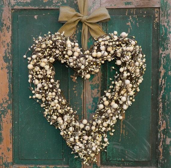 Heart Wreath - Wedding Wreath - Valentine Wreath - Berry Heart Wreath