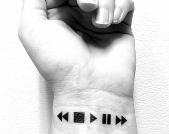 Music Temporary Tattoo, Moments, Memories, Rewind, Pause, Play Stop, Fast Forward Tattoo, Music Gift Idea, Musical Tattoo