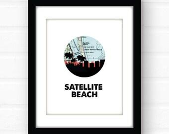 Satellite Beach decor | Florida map art print | Florida beach print | travel poster | coastal beach decor | Florida beach sign | wall art