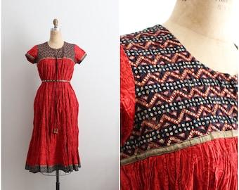 1980s Indian Dream Tunic Dress / Gypsy Festival Midi Dress / Bohemian Dress / Cotton Dress/ One Size