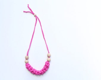 Pink Adjustable Crochet Teething Necklace / Teething Ring / Nursing Necklace