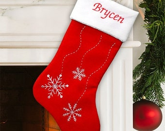 Christmas Stocking Embroidered with Snowflakes -gfyS34559